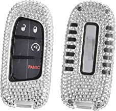 M.JVisun Handmade Car Key Fob Cover for Jeep Smart Remote Key, Diamond Car Key Case Cover Fits Jeep Cherokee/Grand Cherokee/SRT, Bling Crystals Aluminum Key Fob Cover Protector - Silver