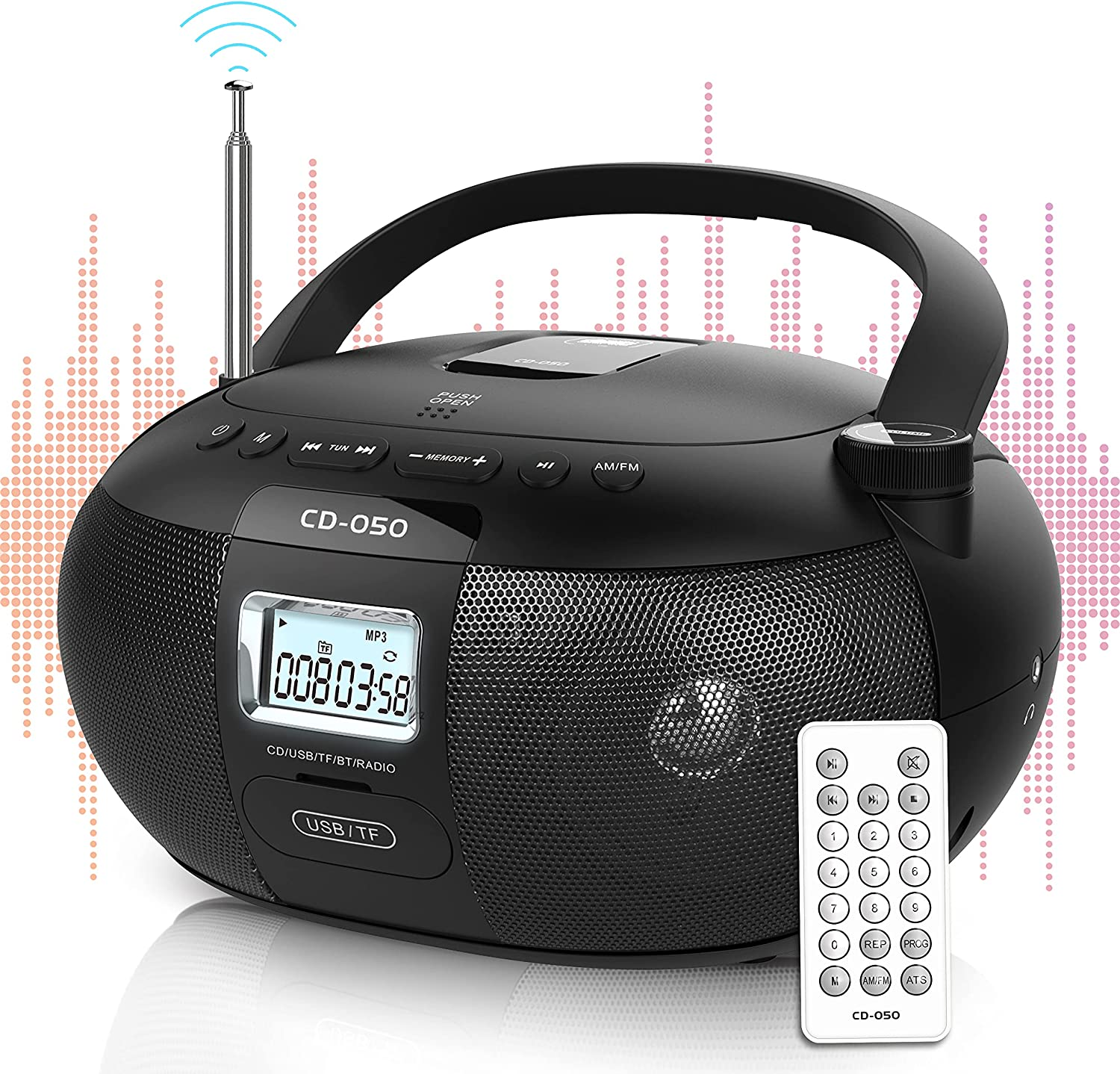Greadio CD Player Portable Boombox with AM FM Stereo Radio, Bluetooth 5.0/TF Port/USB Drive, LCD Display, Headphone Jack, AC/Battery Powered, Remote Control, CD-R/CD-RW Compatible for Home,Senior,Kids