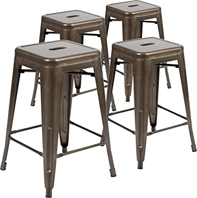 Flash Furniture 24 High Metal Counter-Height Indoor Bar Stool in Black Stackable Set of 4