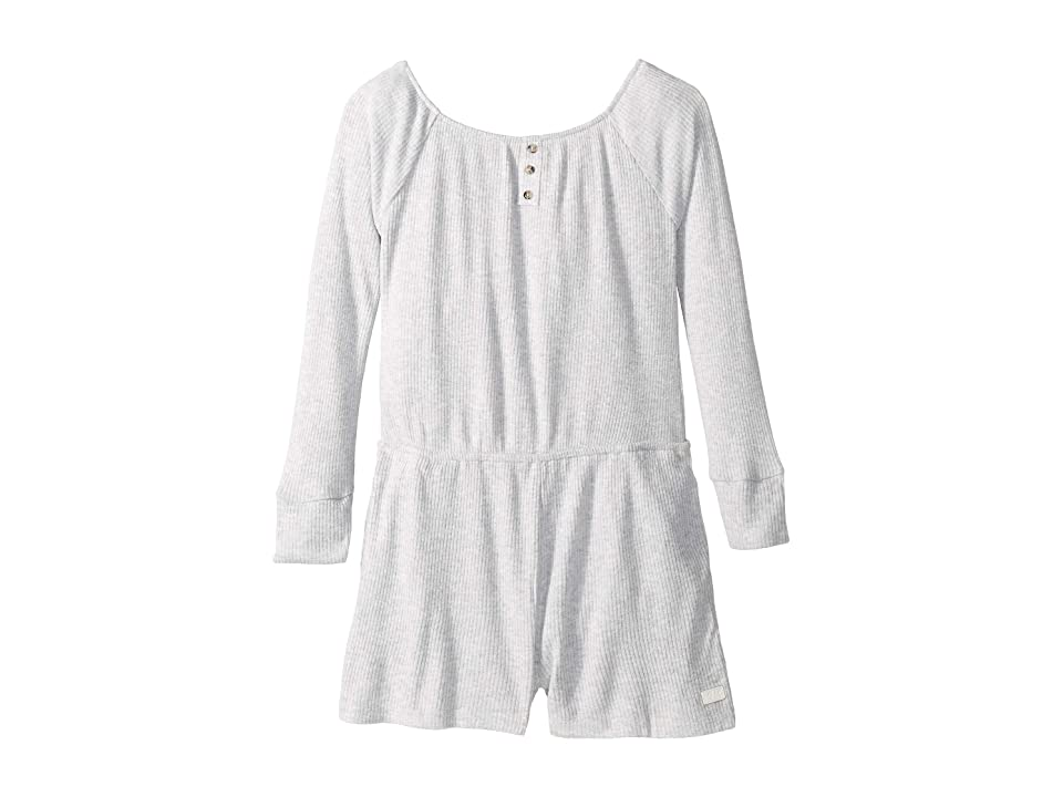 Image of 7 For All Mankind Kids Brushed Rib Knit Romper (Big Kids) (Heather Grey) Girl's Jumpsuit & Rompers One Piece