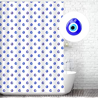 Traveling Twins Evil Eye Lucky Charm Shower Curtain Liner (100% Polyester Fabric, Waterproof and Mildew Resistant + Weighted Bottom) - 72 x 70 inches