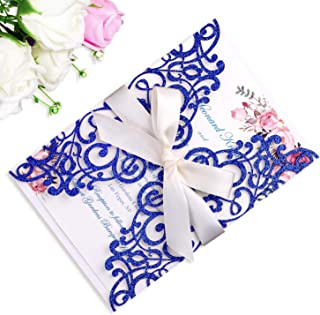 PONATIA 25PCS 5.12 x 7.1 '' Laser Cut Wedding Invitations Cards with Envelopes for Wedding Bridal Shower Engagement Birthday Invite (Royal Blue Glitter)
