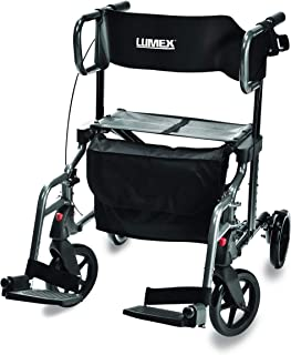 Lumex HybridLX Rollator & Transport Chair, Titanium, LX1000T
