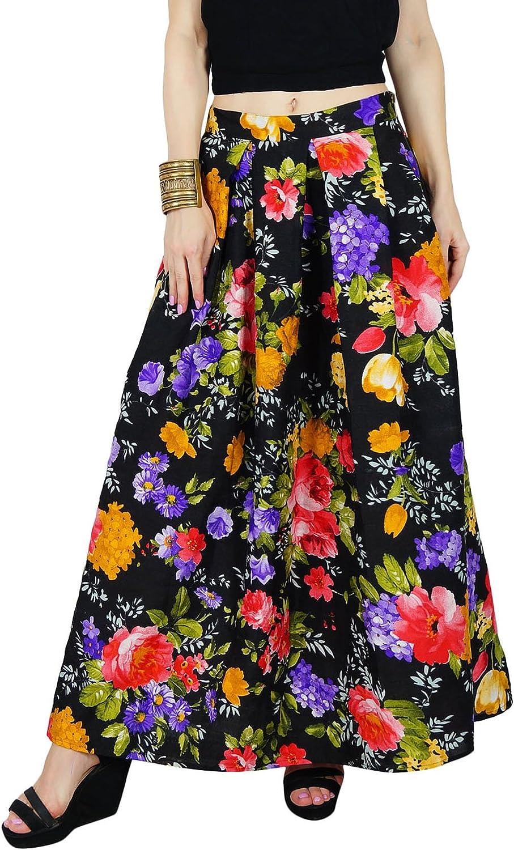 Bimba Women Long Maxi Pleated Reversible Skirt Floral Print Boho Casual Skirts