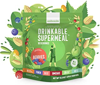 Meal Replacement Nutritional Shake by Ambronite - BERRIES - High Fiber Superfood & Protein Drink for Healthy Weight Loss - All Natural Smoothie Mix for Men and Women - 13.3 oz, 1600 cal Pouch