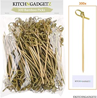 Bamboo Cocktail Picks – 300 Pack – 4.1 inch – With Looped Knot –..