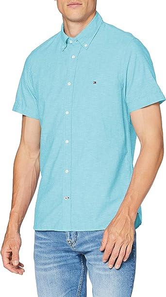 TALLA M. Tommy Hilfiger Slim Cotton Linen Shirt S/S Sudadera para Hombre