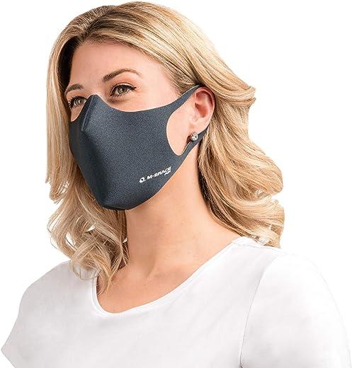 M-brace air mascherina lavabile e riutilizzabile, pack 2 pezzi, tessuto a triplo strato, laccio, colore silver