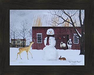 Home Cabin Décor The Friendly Beasts by Billy Jacobs 16x20 Barn Snow Snowman Deer Cow Sheep Bunny Framed Art Print Picture