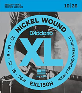 D'Addario XL Nickel Wound Electric Guitar Strings, High-Strung/Nashville Tuning Gauge – Round Wound with Nickel-Plated Steel for Long Lasting Distinctive Bright Tone and Excellent Intonation – 10-26, 1 Set