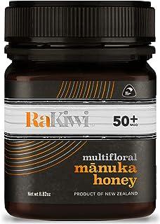 RaKiwi Raw Multifloral Mānuka Honey Certified MGO 50+ Genuine New Zealand Non-GMO Honey (8.82oz/250g)