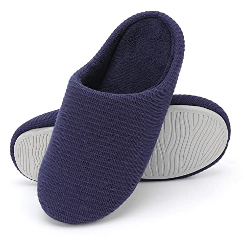 9bfee3f84a7f6 Wishcotton Men s Comfort Memory Foam Slippers Washable House Shoes With  Non-Slip Sole