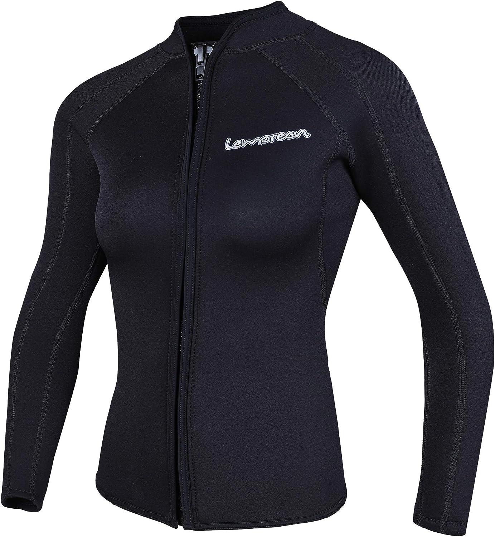 Spring new work Luxury Lemorecn Women's 3mm Wetsuits Jacket Neoprene Sleeve Long W