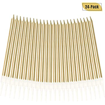Gold,0.5 x 10 cm Birthday Cake Candles 24 Pieces Party Candles Suit for Most Occasions