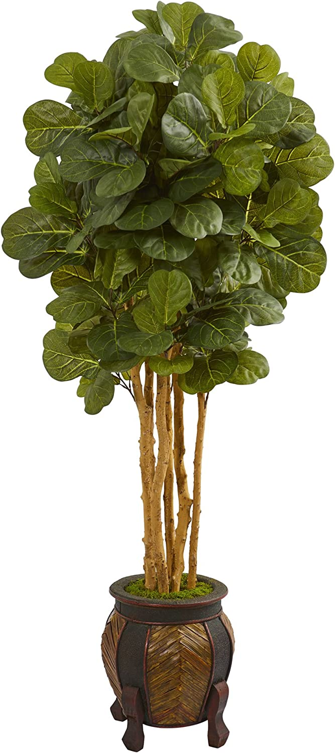 Spring new work Nearly Natural Fiddle Leaf Artificial Tree 5.5' Planter Special sale item in