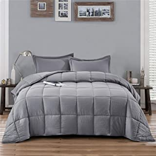 HIG Pre Washed Down Alternative Comforter Set Twin -Reversible Shabby Chic Quilt Desgin -Box Stitched with 4 Corner Tabs -Lightweight for All Season -Light Gray Duvet Comforter with 2 Pillow Shams