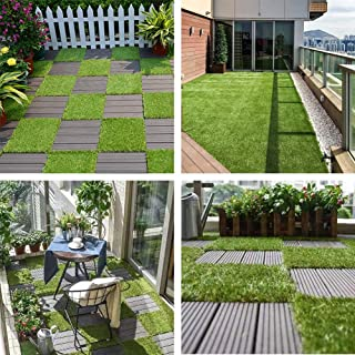 ART TO REAL Artificial Grass Turf Tile Interlocking Self-draining Mat, Permeable Backing Grass Interlocking Lawn Floor Mat, Lawn Rug for Pet Synthetic Square Grass Carpet Golf Mat Outdoor Decor