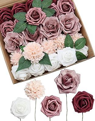 D-Seven Artificial Flowers Delicate Dusty Rose Flowers Combo for DIY Wedding Bouquets Centerpieces Arch Floral Arrangements Bridal Shower Baby Shower Party Home Decorations (Delicate Dusty Rose)