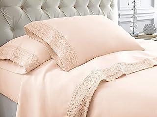 Amrapur Overseas 4-Piece Crochet Lace Bed Sheet Set, King, Blush