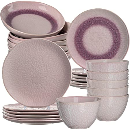 Keramik-Teller sp/ülmaschinengeeignetes Kombiservice 18 teilig Schalen grau 380 ml Leonardo Matera Steingut Geschirrset /Ø 22,5 /& 27 cm 026055