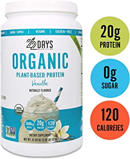 22 Days Nutrition Organic Protein Powder, Vanilla, 32.59 Ounce | Gluten Free, Vegan- Pea, Flax, and Sacha Inchi- Plant Based Protein Powder (20g) - No Added Sugar, Naturally Sweetened with Stevia