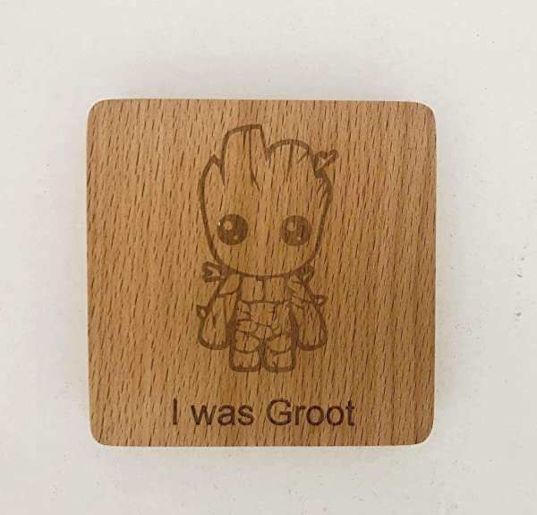 Laser Engraved GOTG I Was Groot Bamboo Coasters 4 Piece Set Gift Idea Hot Cold Drinks Bar Home Decor Prevent Water Damage