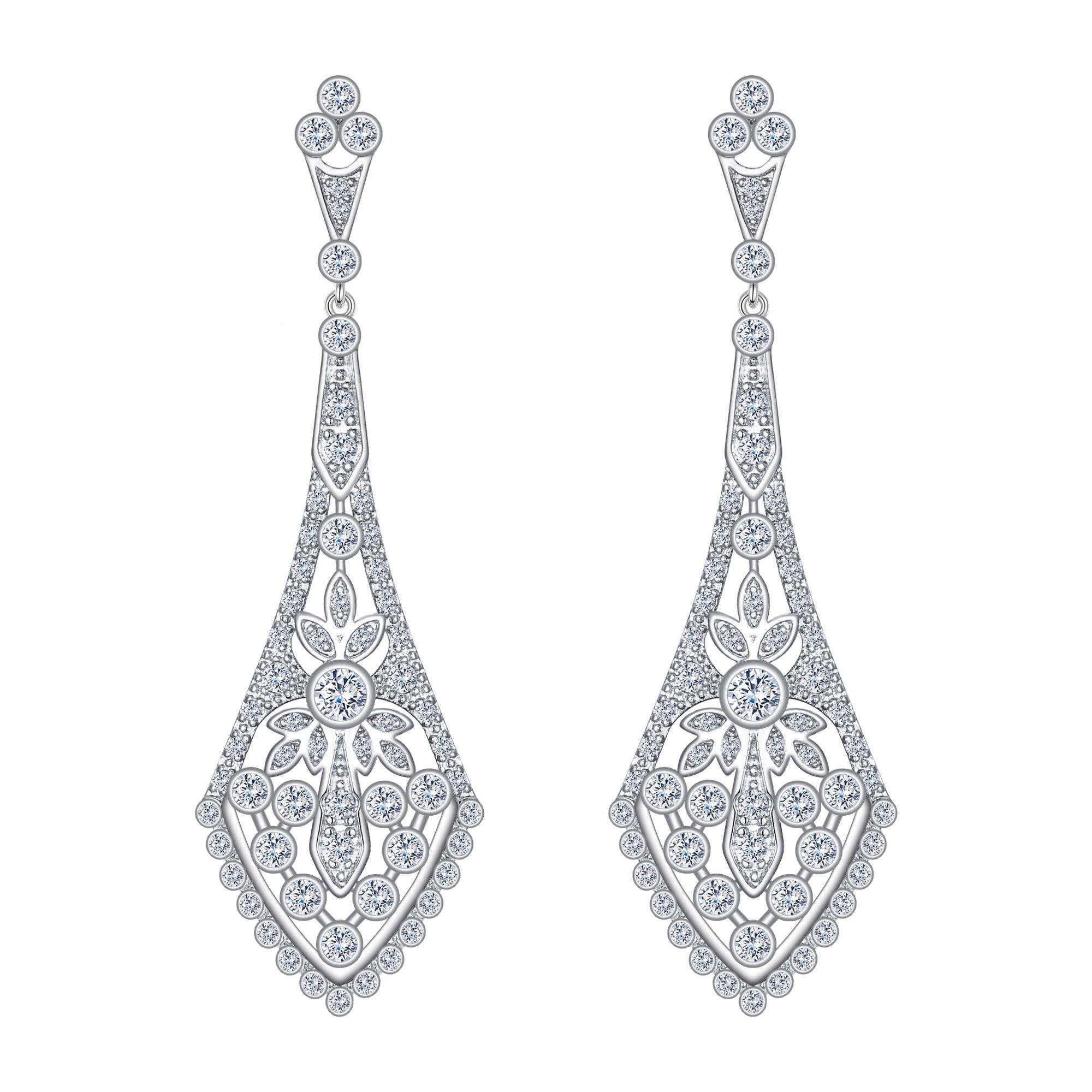 Women's Brilliant Wedding Feast Chandelier Art Deco Dangle Earrings Clear Silver-Tone