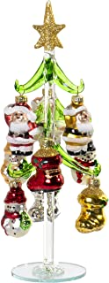 10 Inch Mini Glass Christmas Tree Tabletop Decoration with Colorful Removable Ornaments, Old Fashioned Xmas