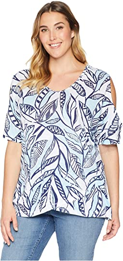 Plus Size Palm Leaves Crossover Escape Top