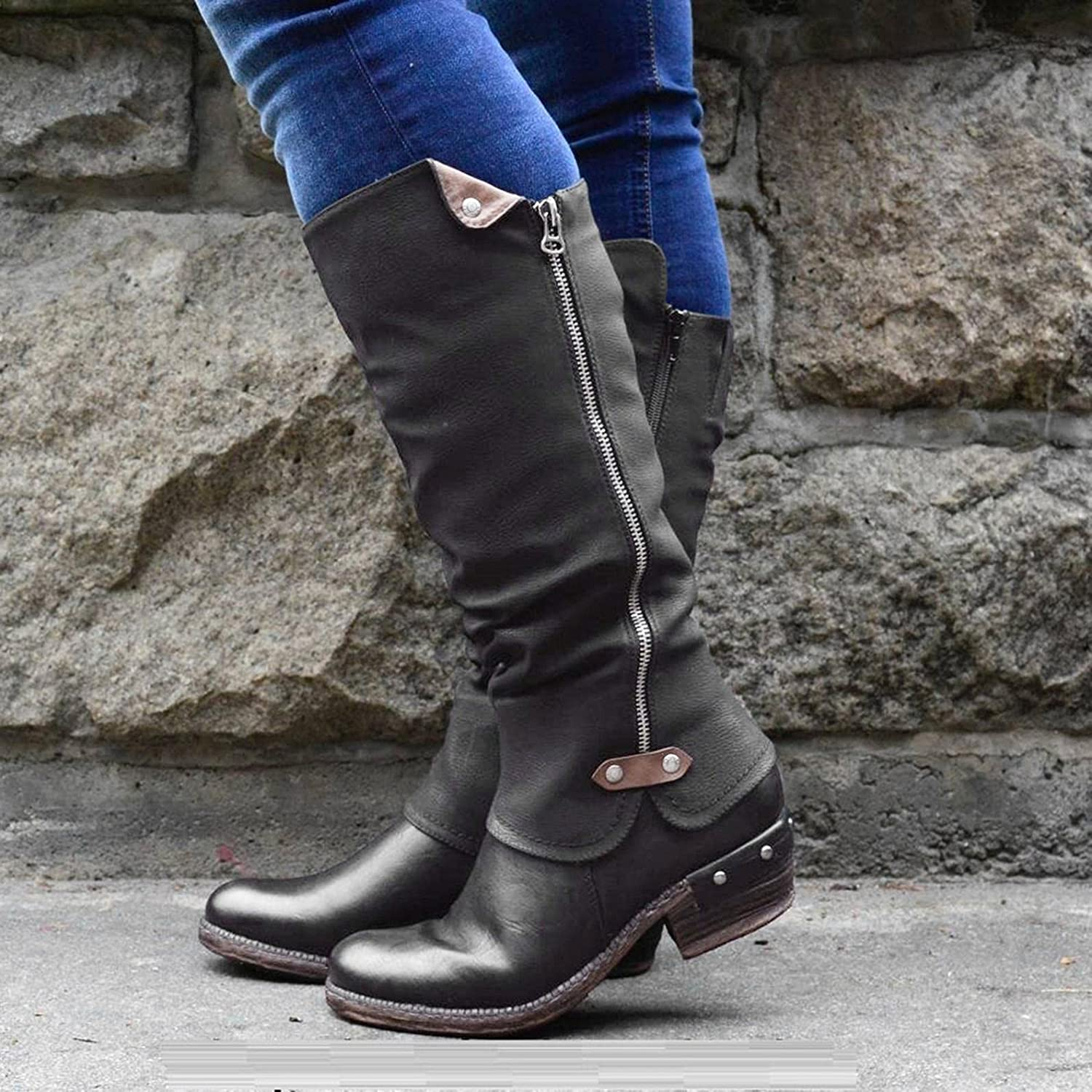 Boots for Women with Heel Vintage Buckle Strap Knee High Boots Side Zip Platform Boots Casual Warm Snow Winter Boots Womens