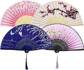 ZWOOS Abanicos de Mano Plegable, 4 Pcs Ventilador de Mano Japones, Patrón Hechos a Mano Estilo Retro, Abanico Madera con Borla para Tapices de Regalo de Fiesta de Boda