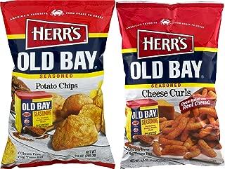Herr's Old Bay Seasoned Potato Chips & Old Bay Seasoned Cheese Curls Variety Pack (2 Bags)