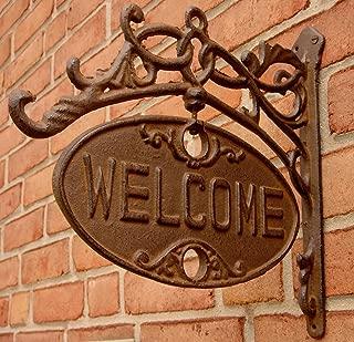 Upper Deck Welcome or Go Away Sign Ornate Cast Iron Front Door Plaque