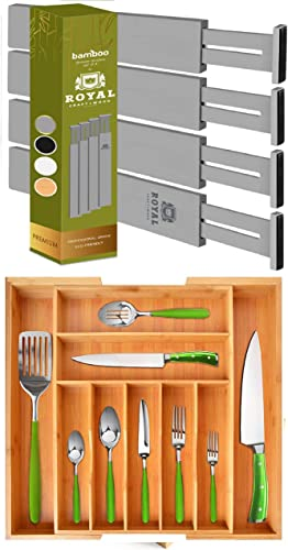 popular Adjustable lowest Drawer Dividers 22IN, Gray and Silverware Drawer wholesale Organizer, Natural online