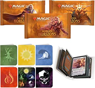 Totem World 3 Booster Packs of Magic The Gathering Modern Horizons with a Totem Mana Symbol Mini Binder Collectors Album - One MTG Pack for MH1 Booster Draft Lot