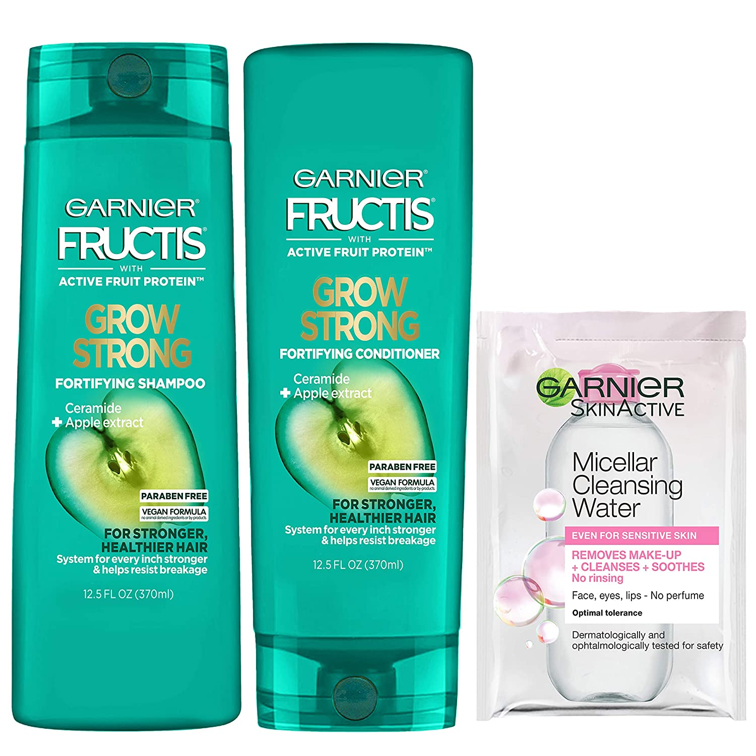 Garnier Haircare Fructis Shampoo and Conditioner Kit for Stronger Healthier Shinier Hair 12.5 Fl Oz Ea With Micellar Sample Packaging May Vary Kit, Grow Strong, 1 Count