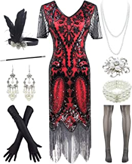 YENMILL Women 1920s Gatsby Vintage Sequin Flapper Fringe Party Plus Dress with 20s Accessories Set