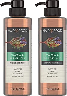 Hair Food Sulfate Free Purifying Shampoo and Conditioner, Infused with Tea Tree & Lavendar Water, Dye Free, 17.9 Oz, Bundle