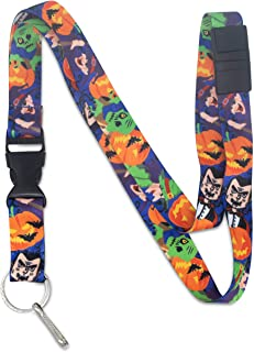 Limeloot Halloween Jack O Lantern and Monsters Premium Lanyard with Breakaway, Release Buckle and Flat Ring.