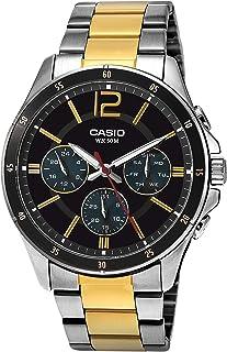 Casio Men's Black Dial Stainless Steel Band Watch - MTP-1374SG-1AVDF, Analog, Quartz