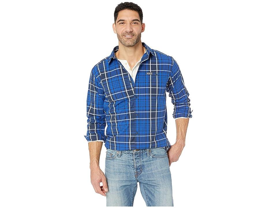 Columbia Boulder Ridgetm Long Sleeve Shirt (Azul Large Plaid) Men