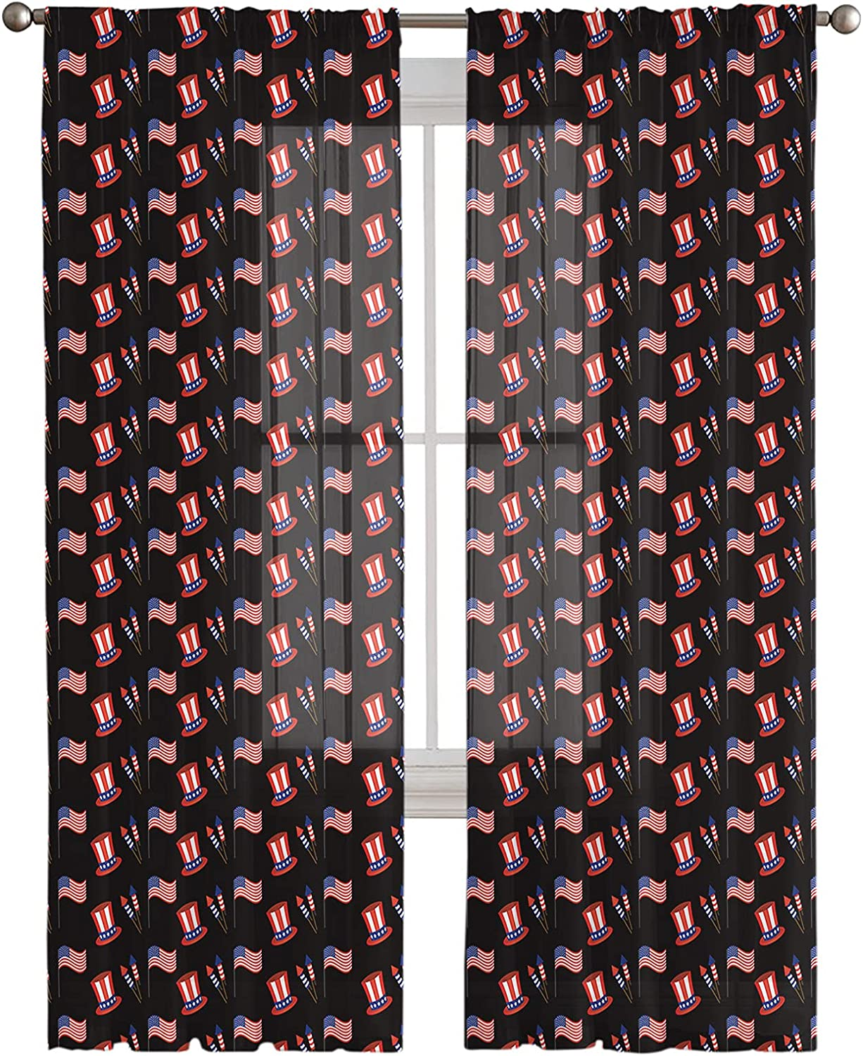 Outstanding Rod Pocket Regular store Semi Sheer Curtains and American Flag Balloon Firewor