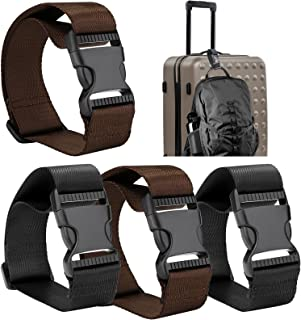 Frienda Add a Bag Luggage Strap Adjustable Suitcase Belt Straps Accessories for Connecting Luggage (Black and Brown-4 Pieces)