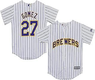 Carlos Gomez Milwaukee Brewers White Stripe Youth Cool Base Alternate Replica Jersey