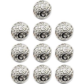 Silver /À accrocher soi m/ême 15 mm Lot de 10 Boutons en m/étal de qualit/é sup/érieure avec rainures pour Veste manteau et chemise
