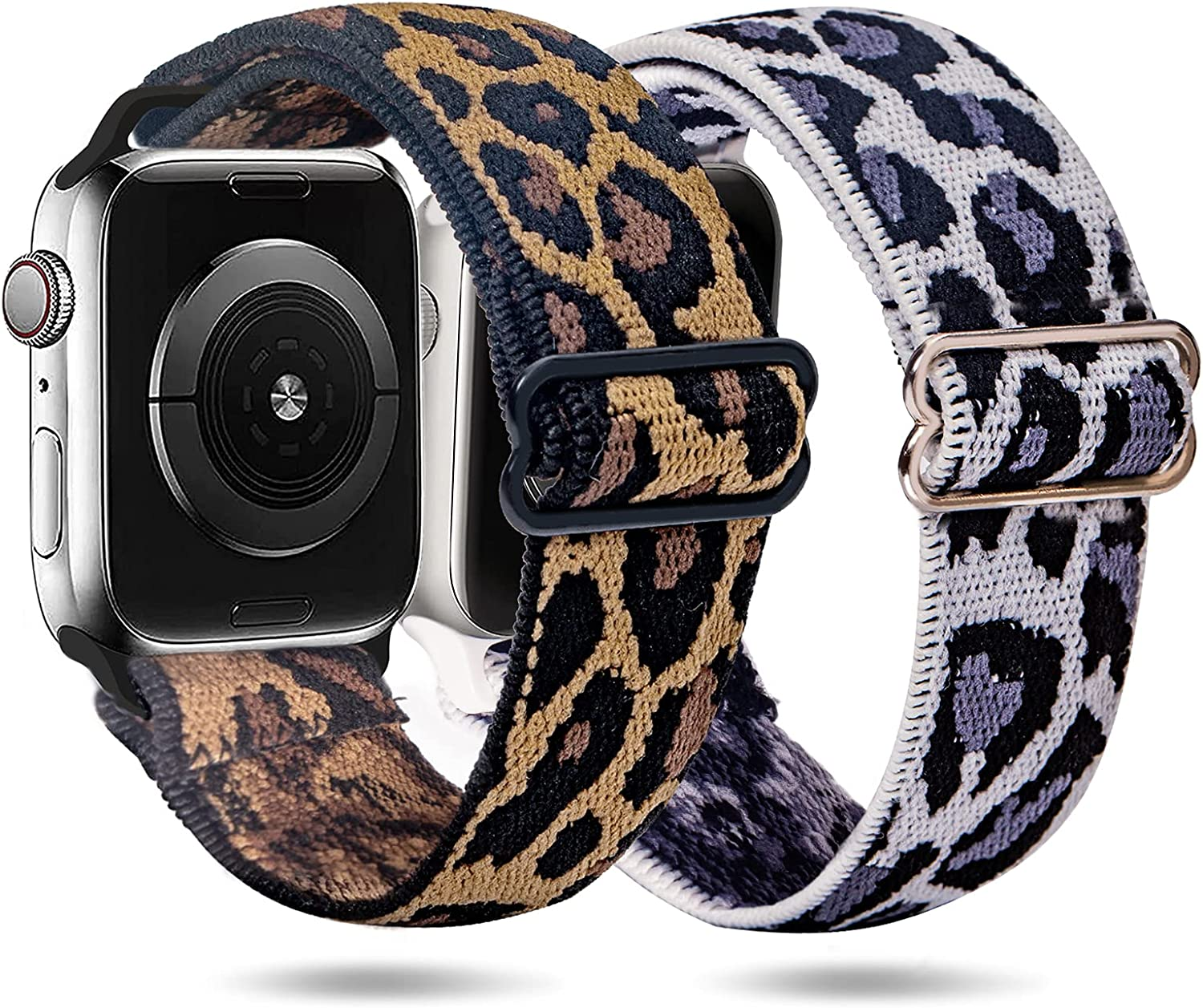 2 Pack Compatible with Apple Watch Bands 38mm 40mm 42mm 44mm for Women Men, ANDOLO Stretchy Nylon Solo Loop Smartwatch Bands Wristbands Replacement Strap for iWatch Series 7 6 5 4 3 2 SE