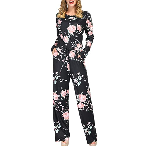 a3642ea8dde4 RichCoco Women s Floral Printed Jumpsuit Casual O Neck Loose Long Wide Legs  Pants Jumpsuit Rompers with