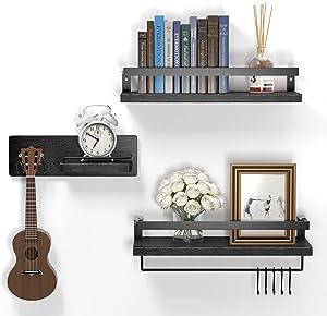 BAGBEL Floating Shelves Wall Mounted, Rustic Wood Wall Shelves, Storage Shelves for Bathroom, Bedroom, Living Room, Set of 3, Black