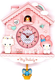 Rustic Golbary Gifts Cuckoo Nursery Wall Clock Pink with Pendulum Mouse House with Bunnies Adorable Infant Boys & Girls Gift (Pink)