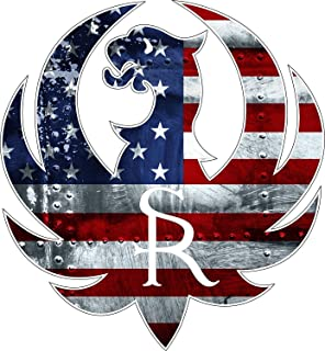 Decals Stickers Ruger with American USA Flag Gun Rights Tool Box Bumper Sticker Vinyl Decal